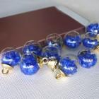 Подвеска шар с кристаллами, синий, 15*20мм