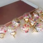 Подвеска шар с кристаллами, цветной, 15*20мм