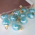 Подвеска шар с кристаллами, голубой, 15*20мм