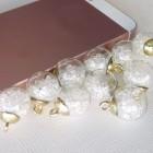 Подвеска шар с кристаллами, белый, 15*20мм