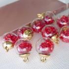 Подвеска шар с кристаллами, красный, 15*20мм