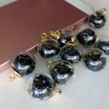 Подвеска шар с кристаллами, чёрный, 15*20мм