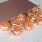 Подвеска шар с кристаллами, персик, 15*20мм