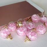 Подвеска шар с кристаллами, св.розовый, 15*20мм