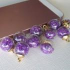 Подвеска шар с кристаллами, фиолетовый, 15*20мм
