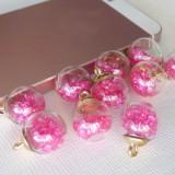 Подвеска шар с кристаллами, ярко-розовый, 15*20мм