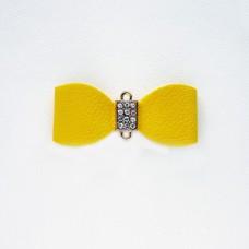 """Подвеска """"Бант"""" из кожзама, жёлтый, 29*68мм"""