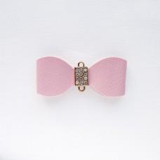 """Подвеска """"Бант"""" из кожзама, розовый, 29*68мм"""