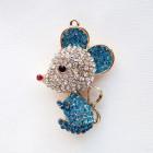 Мышка объёмная, голубая, стразы, 40*60мм