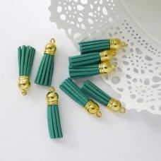 Кисточка зелёная/золото 37мм