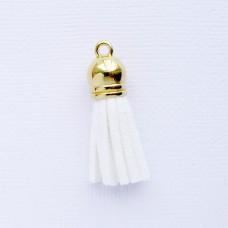 Кисточка белая/золото 37мм