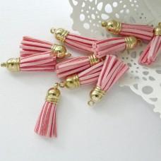 Кисточка розовая/золото 37мм