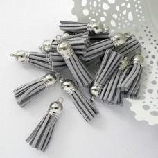 Кисточка серая/серебро 37мм