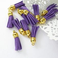 Кисточка фиолетовая/золото 37мм