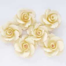 Бумажные цветы, цвет кремовый - 40мм (6шт.)