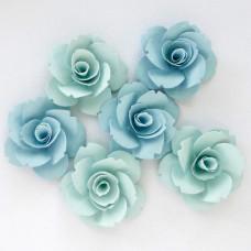 Бумажные цветы, бирюзовые тона - 40мм (6шт.)