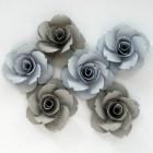 Бумажные цветы, синие/серые - 40мм (6шт.)