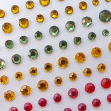 Клеевые стразы красные/желтые/зеленые/коричневые, d3,4,5,6мм