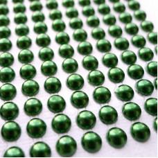 Клеевые полубусины темн.зеленые, d6мм, 252шт