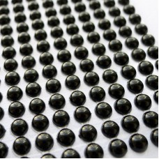 Клеевые полубусины чёрные, d6мм, 252шт