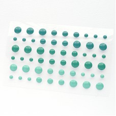 Клеевые дотсы, бирюзовые тона, d4, 6, 8мм, 54шт
