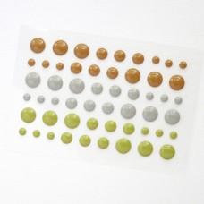 Клеевые дотсы, глянцевые, серо-коричневые тона, d4, 6, 8мм, 54шт