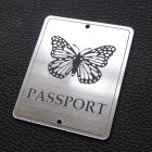 "Табличка ""Passport - бабочка"", серебро, 50*60мм"