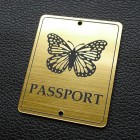 "Табличка ""Passport - бабочка"", золото, 50*60мм"