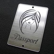 "Табличка ""Passport - девушка прямо"", серебро, 50*70мм"