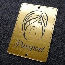 "Табличка ""Passport - девушка прямо"", золото, 50*70мм"