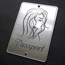 """Табличка """"Passport - девушка сбоку"""", серебро, 50*70мм"""