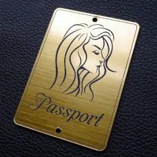 """Табличка """"Passport - девушка сбоку"""", золото, 50*70мм"""