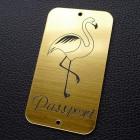 "Табличка ""Passport - фламинго"", золото, 45*80мм"