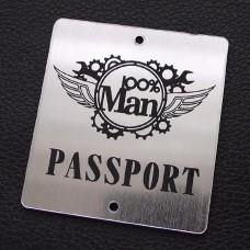 "Табличка ""100% man-passport"", золото, ?*?мм"