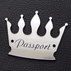 "Табличка ""Passport - корона"", серебро, 40*55мм"