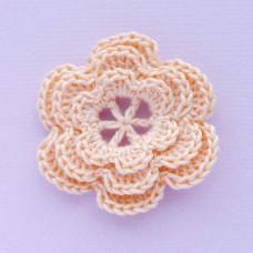 Цветочек трехслойный персиковый, 40мм