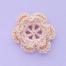 Цветочек двухслойный персиковый, 30мм