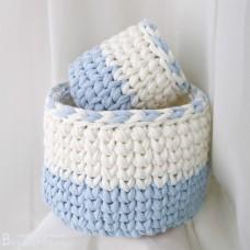 Набор корзиночек из трикотажной пряжи, бело-голубой