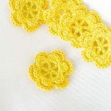 Цветочек двухслойный жёлтый, 30мм